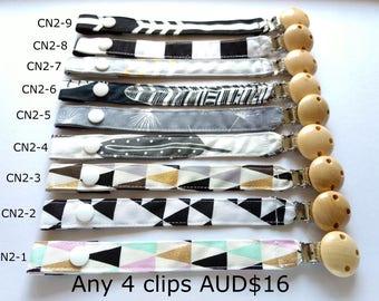 Cotton Strap Pacifier Clip // Natural Wooden Pacifier Clip // dummy clip with strap // baby pacifier clip