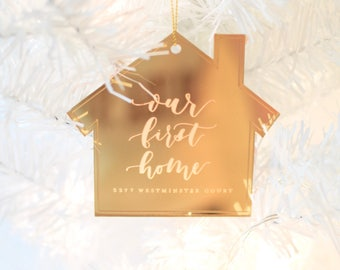 Custom Hand Lettered Calligraphy Laser Cut Engraved Christmas Ornament OUR FIRST HOME