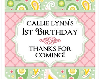 1st Birthday Stickers, 2 inch SQUARE, Custom Birthday stickers, Green and Pink Paisley, Personalized Children Stickers, Personalized for YOU
