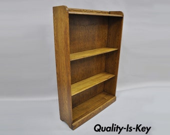 Vintage Oak Wood Bookcase Mission Arts & Crafts Traditional Style 54 x 36