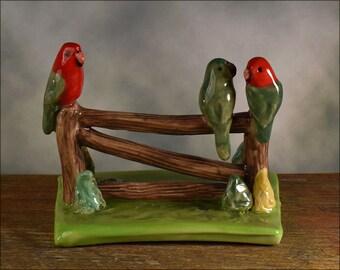 Miniature King parrot figurine, hand crafted Australian pottery by Anita Reay ceramic bird figurine gate fence bird art