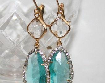 Dangle earrings,Mother's day,Gift,Aqua Blue Earrings,Blue Zircon,Statement,Wedding Bridal Jewelry,Aquamarine Crystal Teardrop Earrings