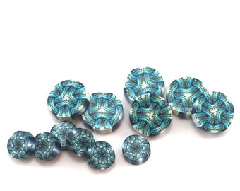 12- Round flat kaleidoscope beads for DIY jewelry making, unique intricate handmade blue turquoise white polymer clay millefiori coin beads