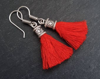 Mini Red Tassel Drop Earrings Bohemian Boho Style Light Comfortable Daytime Jewelry Authentic Turkish Style - FREE SHIPPING
