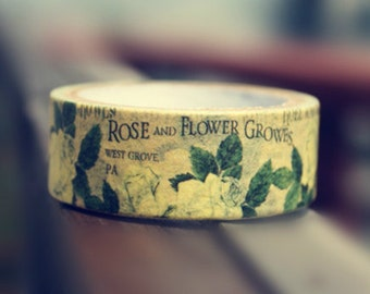 Washi Tape - Vintage Rose Growes in Yellow - no.221 // 20mm x 5m