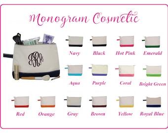 Monogram Makeup Bag, Personalized Makeup Bag, Canvas Makeup Bag, Bridesmaid Gift, Graduation Gift, Bridesmaids Makeup Bag, Makeup Case