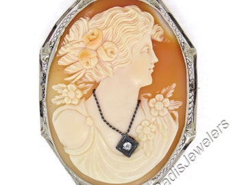Antique Art Deco 14K White Gold LARGE Cameo Diamond Octagonal Open Filigree Etched Brooch Pendant