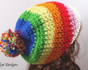 Rainbow Pom Pom Hat, Crochet Beanie Hat, Women Slouchy Beanie