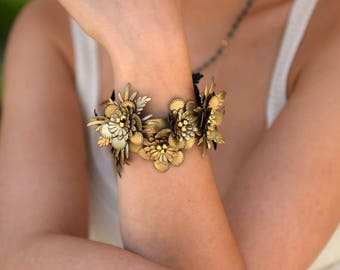 Corsage Flower Bracelet, Floral Wrap Bracelet / Interchangeable Choker in Gold, Bridal Jewelry