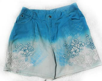 Women's blue shorts -art to wear shorts,  ombre shorts, blue dyed shorts - hand painted shorts -grunge shorts,  size 14,  # 3