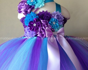 Beautiful baby girl first birthday tutu dress  in purple ,lavender ,turquoise ,and aqua with matching headband for baby girls  12-18 months