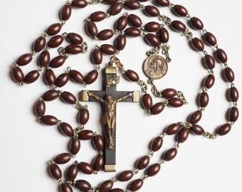 Vintage Bakelite Rosary with Chocolate Brown Beads, Ebony Crucifix - Made in Italy