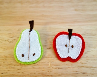 Apple and Pear Brooches