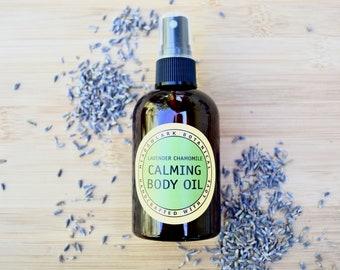 Stress Relief Body Oil - Lavender Chamomile | Natural Massage Oil | Organic Bath Oil for Dry Skin | Sensitive Skin Safe | Vegan Skincare