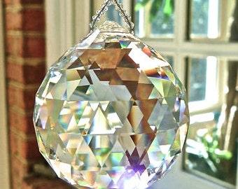 "HUGE 50mm Swarovski Crystal Ball Suncatcher, Clear Crystal Ball, Hanging Crystal Suncatcher, Rainbow Maker, Window Hanger ""SIMPLICITY VENTI"""