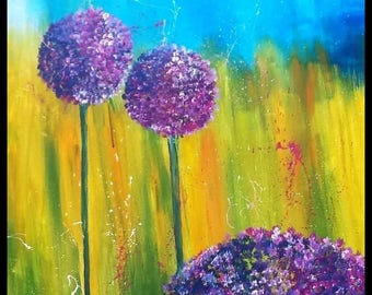 Acrylic picture Allium 80 x 80 flowers floral lilac painting flower flowers acrylic painting Allium flower painting on canvas