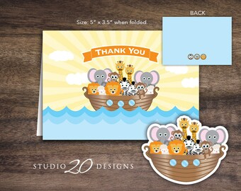 Instant Download Noah's Ark Thank You Card, Folded Noahs Ark Baby Shower Thank You Card, Folded Religious Birthday Thank You Card 63A