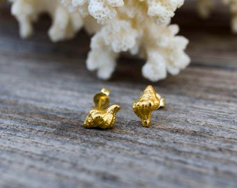 Seashell Earring, Seashell Stud, Beach Wedding, Summer Jewelry, Mermaid Accessories, Ocean Jewelry, Bridesmaid Jewelry, 14k Shell Stud