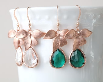 Bridal earrings, orchid earrings, teardrop earrings, delicate earrings, rose gold wedding jewelry, formal earrings, floral earrings, emerald