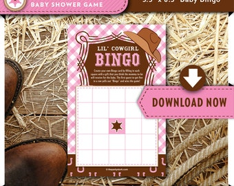 Lil Cowgirl Baby Shower Bingo | Pink Printable Gift Bingo Game | Girl Cards | Decorations & Invitation available, Instant Download
