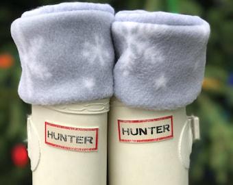 SLUGS Fleece Rain Boot Liners Christmas Snowflake Pattern in Grey, Boot Sock, Boot Insert, Fleece Sock, Boot Cuff, Fashion Accessory Sm/Med