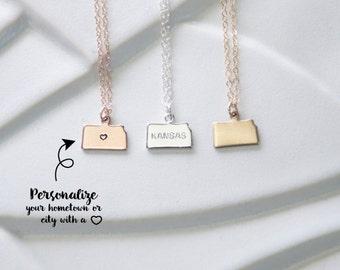 Small Kansas Necklace, Tiny Rose Gold Kansas State Necklace, Kansas Pendant, Kansas Necklace Silver Heart, Kansas State Charm Bracelet