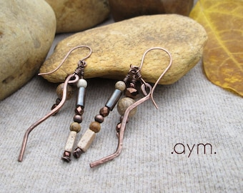 earthy beaded dangle earrings, natural stone and copper artisan earrings, unique neutral brown drop earrings, gift for her, mom gift