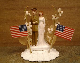 Vintage military wedding cake topper - Army wedding cake topper - soldier cake topper - Army - military wedding - WWII 40s cake topper