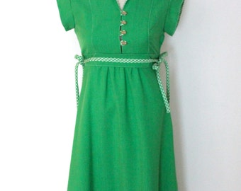 1970s green Casual Corner dress / size S