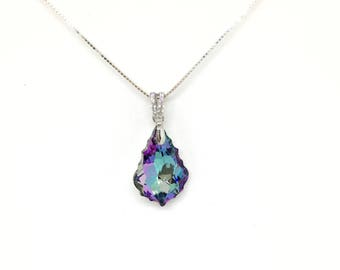 Beautiful necklace with sterling silver and purple iridescent Vitrail Swarovski baroque pendant.