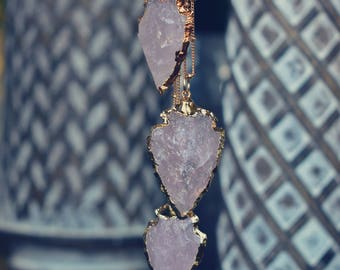 ROSE QUARTZ ARROWHEAD Necklace /// Silver or Gold