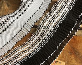 "5 yard 10cm 3.93"" wide black ivory stretch elastic ruffled pleated chiffon tapes lace trim ribbon S5Q151HB17062904  free ship"