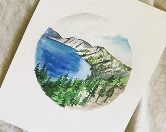 Crater Lake watercolor | original painting | 8x10