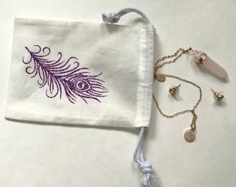Glitter Drawstring bag; Jewelry pouch; cactus; feather; mandala; dream catcher, Purple Glitter, Teal Glitter