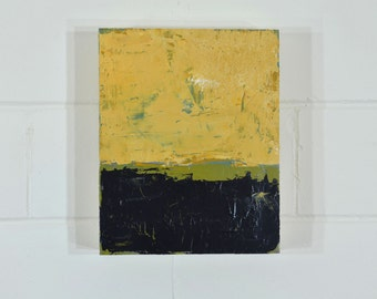 """Yellow Black Abstract Painting, Original Modern Abstract Painting 8"""" x 10"""", Acrylic Painting on Wooden Panel, Yellow and Black Textured"""