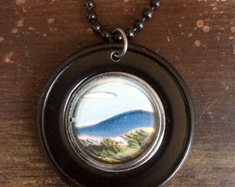 Art Pendant . Mountain Necklace . Vintage Landscape Illustration . Storybook Image . Upcycled Opticians Lens