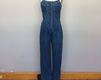 1950s Betty Barclay Halter Bustier Jean Overalls