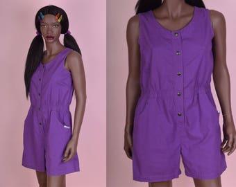 90s Purple Button Down Romper/ Medium/ 1990s