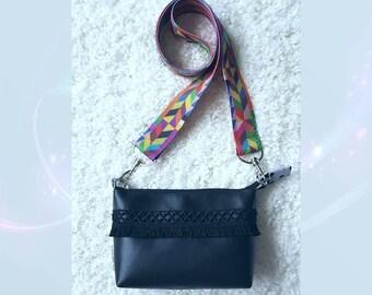Black messenger bag, black bag, handbag, shoulder bag Michellle