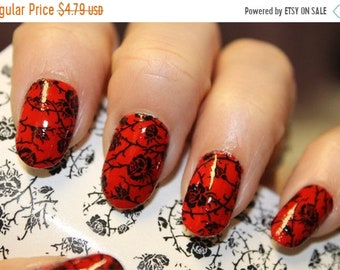 ON SALE BLACK Roses on Clear Nail Art Wrap (Rtb) Waterslide Transfer Decals - Not stickers or vinyl