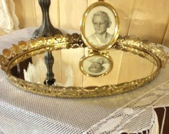 Vintage dresser tray, gold filigree tray, mirrored vanity tray, Victorian vanity tray, Victorian mirror, vanity tray, oval vanity tray, tray