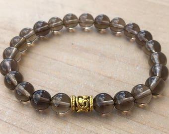 Men's Bracelet, Smoky Quartz Bracelet, Yoga Bracelet, Abundance Bracelet, Mala Bracelet, Mala beads, Wrist Mala, Boho Bracelet, Gift For Him