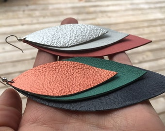 Triple Feather Leather Earrings