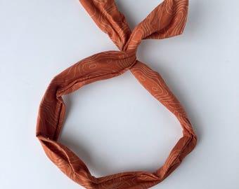 Burnt Orange Headband, wire headband, dolly bow, Hair tie, patterned headband, orange fabric, girls hair band, cute headband