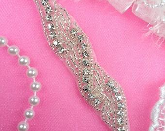 "JB172 Petite Crystal Rhinestone Silver Beaded Applique 4.75"" (JB172-slcr)"
