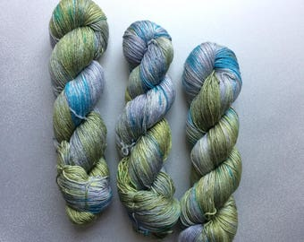 NEW edition Hand dyed yarn 4ply finger weight merino and silk 100g. In Jurassic coast Non mulesed ethically sourced.