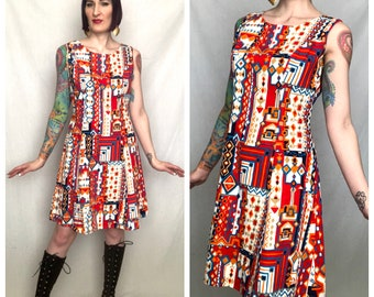 Vintage 1960's Geometric Abstract Ethnic Tiki Print Mod Go Go Cotton Shift Dress - size Large