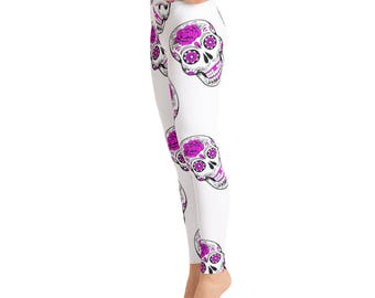 White Purple Sugar Skull Yoga Leggings, Day of the DeadCapri Yoga Pants, Sport Stretch Leggings, Fitness Workout Yoga Pants Joggers Active,