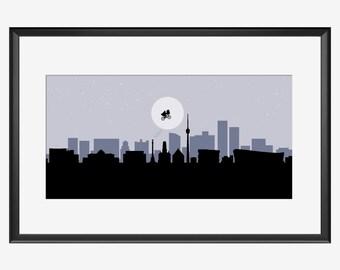 Stuttgart Skyline, Stuttgart Print, Stuttgart poster, Stuttgart Germany, Stuttgart art, Et movie inspired art, Et art, Et print, Et poster