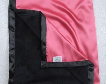 Satin Blanket, silky blanket, corals satin, coral and black, lovie, silk blanket, minky blanket, custom baby blanket, baby gift, baby girl